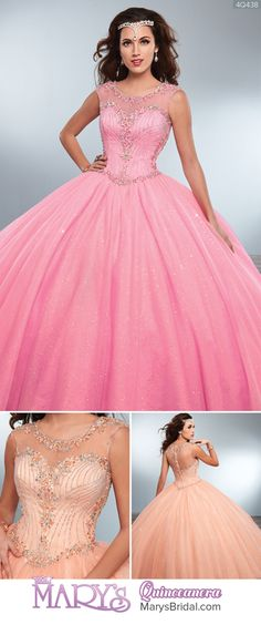 Style 4Q438: Sparkling tulle quinceanera ball gown with scoop neck, cap sleeves, beaded bodice, basque waist line, and back zipper closure. From Mary's Quinceanera Fall 2016 Princess Collection