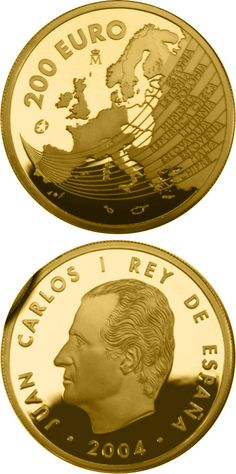 N♡T.200 euro: The Europa Program - Enlargement of the European Union.Country:Spain Mintage year:2004 Face value:200 euro Diameter:30.00 mm Weight:13.50 g Alloy:Gold Quality:Proof Mintage:5,000 pc proof