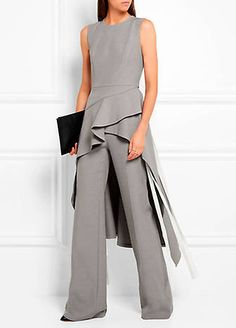 - Chambray wide-leg pants, Asymmetric chambray tunic, ( ADEAM ) - Lattice-paneled leather ankle boots ( FRANCESCO RUSSO ), Antigona pouch in black textured-leather ( GIVENCHY ) Elegante Jumpsuits, Chambray Tunic, Mode Inspiration, Beautiful Outfits, Evening Dresses, Fashion Dresses, Dress Up, Dresses For Work, Glamour