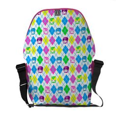 Colorful Owl Argyle Pattern - Candy Messenger Bag