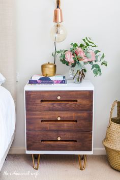 Mid Century Modern Side Table Makeover — The Whimsical Wife Bedside Table Makeover, Furniture Makeover, Furniture Outlet, Discount Furniture, Side Table Decor, Side Table With Storage, Mid Century Modern Side Table, Mid Century Modern Furniture, Mid Century Bed