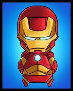 How To Draw Chibi Iron Man, Step by Step, Drawing Guide, by Dawn Cartoon Drawings, Easy Drawings, Iron Man Kids, New Avengers Movie, Iron Man Face, Iron Man Cartoon, Helmet Drawing, Chibi Boy, Kawaii Chibi