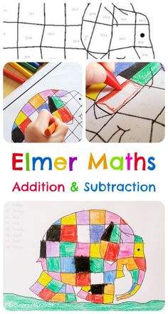 Elmer Maths - Addition & Subtraction: Simple addition and subtraction sums practising number bonds to 20, then use the key to find the right colour for the answer!