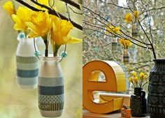 DIY-tutorial: up-/recycling pretty little hanging vases from yoghurt bottles