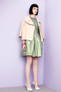 Antipodium Pre-Spring/Summer 2012, inspired by EMOJI - pastel style fashion editorial with iridescent / metallic green dress and pink coat / jacket - http://pinterest.com/arenaint