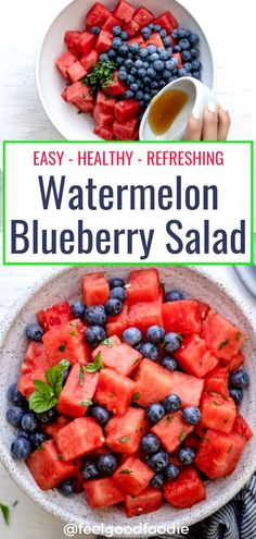 Recipes Fruit This Watermelon Blueberry Salad is tossed with mint, lemon and honey. It's an easy, healthy, refreshing summer recipe for picnics, barbecues and potlucks. Healthy Potluck, Healthy Summer Recipes, Healthy Snacks, Easy Healthy Appetizers, Summer Appetizer Recipes, Fruit Salad Recipes, Watermelon Recipes, Jello Salads, Watermelon Blueberry Salad