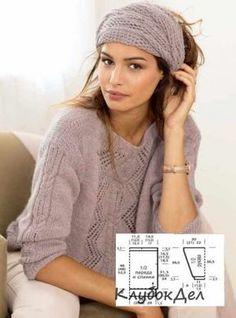 пуловер и шарф спицами