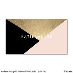 Modern faux gold foil coral black color block chic standard business card