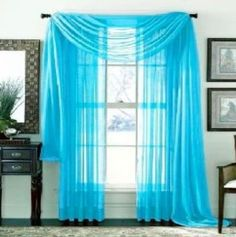 Turquoise 2 Pcs. Sheer Voile Window Panel Solid Brand New Curtain 2 Panels