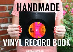 Handmade Vinyl Record Book VIDEO TUTORIAL. Use vinyl records to make a handmade book. This would make the perfect guest book for any music lover's wedding!