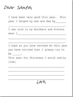 letter to santa for Christmas next year