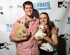 "Honoree Erin from Susie's Senior Dogs and Brandon from Humans of New York along with their senior pups, Susie and Simon at  Badass Brooklyn Animal Rescue's amazing benefit ""A Badass Bash: Party for the Pups"""