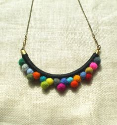 The FRANKIE Necklace--Multicolored--Handmade with Felted Wool Pom Poms, Cotton, Leather, and Brass