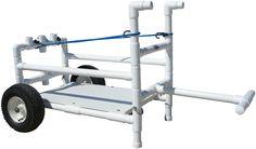 Fishing Trolley, Beach Fishing Cart, Beach Cart, Pvc Projects, Home Projects, Cooler With Wheels, Kayak Cart, Beach Wagon, Kayak Trailer