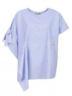 Sportmax Хлопковая блуза свободного кроя с узором «полоска»