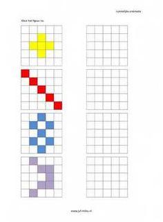 Dit werkblad en nog veel meer in de categorie ruimtelijke orientatie - nakleuren kun je downloaden op de website van Juf Milou. Preschool Printables, Preschool Worksheets, Kindergarten Activities, Learning Activities, Preschool Activities, Symmetry Worksheets, Graph Paper Art, Montessori Math, Visual Memory