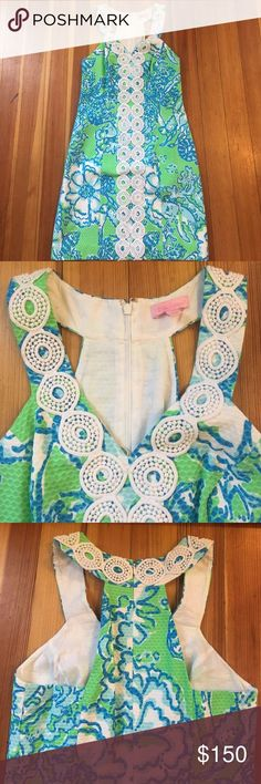 Lilly dress Illy Pulitzer blue and green print dress with white lace detail Lilly Pulitzer Dresses