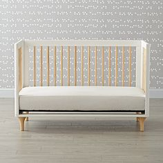 Babyletto Lolly White & Natural 3 in 1 Convertible Crib | The Land of Nod