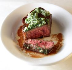 Flat Iron Steak with Herb Butter (Italian parsley, chives and shallot)