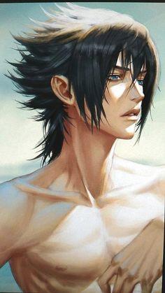 Noctis in this image almost looks like Sasuke from Naruto. I wonder if that's who he was designed after Naruto Vs Sasuke, Itachi Uchiha, Anime Naruto, Sakura E Sasuke, Gaara, Hinata Hyuga, Boruto, Naruto Boys, Fantasy Art Men