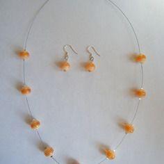 Parure perles en verre orange  - créabijoux lolo - bijoux fantaisies