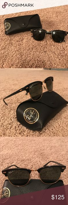 Ray Ban Clubmaster Classic Polarized Sunglasses In perfect conditioned sunglasses! Bought from Sunglasses Hut, so it comes with lifetime adjustments. Ray-Ban Accessories Sunglasses