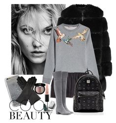 """""""Cool Beauty"""" by mkallintzi ❤ liked on Polyvore featuring Burberry, Givenchy, RED Valentino, Gianvito Rossi, MCM, Agent 18, Dents, Edward Bess and MAC Cosmetics"""