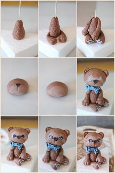 Teddy Bear Baby Shower, Fondant Cake Toppers, Bear Birthday, Polymer Clay Animals, Christmas Ornament Crafts, Clay Creations, Party Cakes, Gingerbread Cookies, Cake Decorating