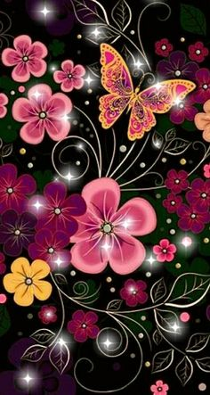 Flowers and butterflies Flower Background Wallpaper, Flower Phone Wallpaper, Butterfly Wallpaper, Wallpaper Iphone Cute, Cellphone Wallpaper, Pink Wallpaper, Colorful Wallpaper, Galaxy Wallpaper, Wallpaper Backgrounds
