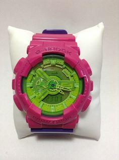 Customized Original G-Shock GA110  [ TESSEN ]  Base Watch : Hyper Green [GA-110B-1A3JF] Vesel Portion : Hyper Pink [GA-110B-4JF] Top Band : Hyper Blue/Pink [GA-110A-9JF] Bottom Band : Hyper Blue/Pink [GA-110A-9JF]