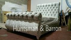 CRUSHED VELVET BED SWAN FRAME SLEIGH BED DESIGNER CHENILLE FABRIC AVAILABLE