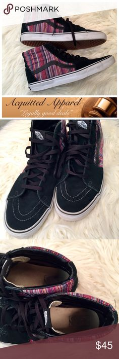{Men's} [Vans] Aztec Leather Suede High Top Shoes Men's Aztec Print Fabric With Black Leather and suede Vans High Top Slim Sneakers size 12. Excellent condition. No signs of wear outside. Vans Shoes Sneakers