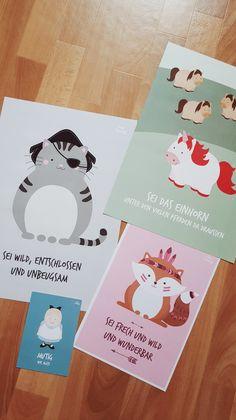 Kinderzimmer Poster: Indianer Fuchs, Piraten Katze und Einhorn