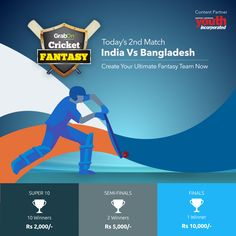 Who are you betting on? Give yourself more reasons to celebrate. LOGIN. SELECT. WIN. Enter ‪#‎GrabTheCup‬ Contest today to take home some exciting prizes! In Association With Youth Incorporated Magazine http://www.grabon.in/cricketfantasy/ ‪#‎WorldT20‬ ‪#‎INDvsBAN‬