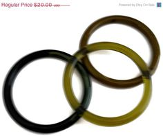 ON SALE Lucite Bangle Bracelet Trio Greens by EclecticVintager, $16.00