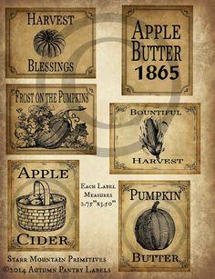 Primitive Autumn Fall Apple Pumpkin Harvest Pantry Logo Labels Jpeg Digital File for Crock, Jar, Pillows, Dolls, Ornies, Crates, Boxes by Starrmtnprims on Etsy https://www.etsy.com/listing/194757906/primitive-autumn-fall-apple-pumpkin