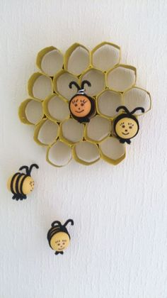 Beehive made from Kinder Surprise Eggs, Pipe Cleaners & Toilet Roll Tubes by Anne Doherty Craft Activities For Kids, Crafts For Kids, Homemade Instruments, Pipe Cleaners, Homemade Toys, Egg Decorating, Recycled Art, Creative Kids, Kids Toys