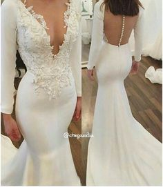 Mermaid Wedding Dress,Long Sleeves Bridal Dress,Sexy Open Back Wedding Gown,Mermaid Long Sleeves Open Back Wedding Dresses