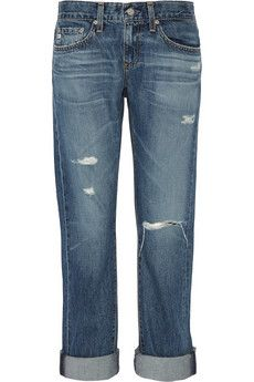 AG Jeans Tomboy distressed denim boyfriend jeans | THE OUTNET