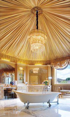 All That Glitters is Gold – 10 Drop-Dead Gold Bathrooms                                                                                                                                                                                 More Ceiling Art, Ceiling Lights, Interior Decorating, Interior Design, Furniture Arrangement, Valance Curtains, Advice, Bathtub, Bathroom