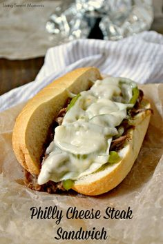Easy Philly Cheese Steak Sandwich Recipe  - this easy weeknight dinner idea is made in no time and has so much flavor! Enjoy authentic flavor in one bite.