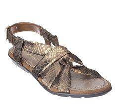 EASY SPIRIT Women's 60154987-3CE ROMAINE Bronze Faux Snake skin sandals 8 W NEW #EasySpirit #sandals