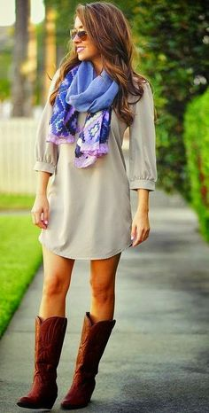 Light Gray Mini Dress With Scarf and Long Boots