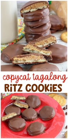 these delicious copycat tagalong ritz cookies for a dessert! They are a girl scout copycat recipe that you can make at home. Ritz crackers are the perfect ingredient to make these. these delicious. Ritz Cracker Dessert, Ritz Cracker Recipes, Recipes With Ritz Crackers, Ritz Cracker Candy, Cracker Cookies, Cookies Et Biscuits, Animal Crackers, Homemade Chocolate, Chocolate Recipes