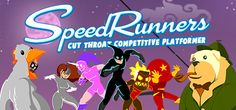 Cut-throat multiplayer running game that pits 4 players against each other, locally and/or online. Run, jump, swing around, and use devious weapons and pick-ups to knock opponents off-screen! One of the most competitive games you'll ever play.