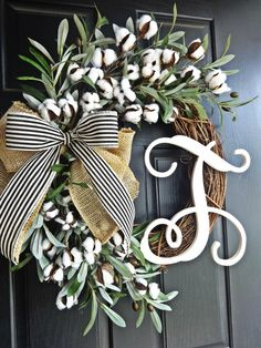Full Cotton and Olive Branch Wreath, Southern Wreath, Cotton Wreath, Burlap Wreath, Summer Wreath, Spring Wreath, Monogram Wreath