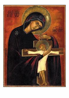 ΘΥ__Παναγία ( Mother of God with infant Jesus on the cross--very unusual combination of both… Religious Images, Religious Icons, Religious Art, Byzantine Art, Byzantine Icons, Our Lady Of Sorrows, Images Of Mary, Religious Paintings, Sainte Marie