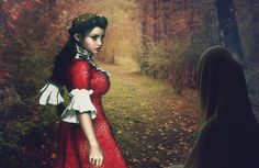Woods, Autumn, Woman, Girl, Meeting, Forest, Nature