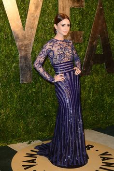 Lily Collins in Zuhair Murad at Vanity Fair's Oscars After Party [Photo by Tyler Boye]