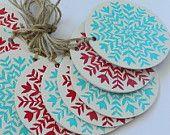 Christmas linocut/ letterpress red and aqua Christmas garland
